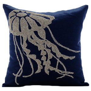 Jelly Fish At the Shore, 40x40 Cotton Linen Navy Blue Throw Cushions Cover