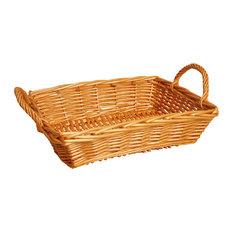 "16"" Rectangle Willow Basket, Honey"