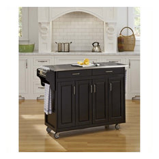 Homestyles Create-a-Cart 49 Inch Stainless Top Kitchen Cart in Black