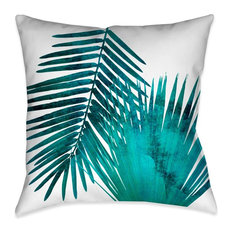 Watercolor Teal Palms II Outdoor Decorative Pillow, 20x20
