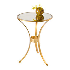 Worlds Away   Worlds Away 3 Leg Round Table In Gold Leaf With Antique  Mirror Top