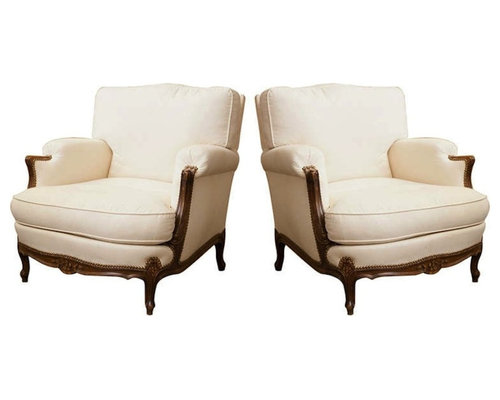 pair of french louis xv style bergres in oak armchairs and accent chairs