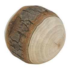 Wood Ball With Birch Wrap , Set of 4