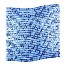 "Blue Neptune Wavy Glass Mosaic Tile, 11.7""x12"" Single Sheet"