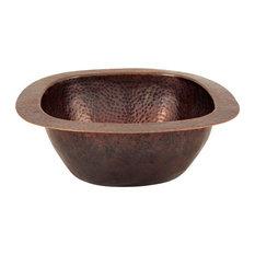 """Solid Copper 12.5""""x12.5"""" Small Square Bar/Prep Sink, Antique Finish"""