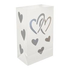 Plastic Luminaria Bags, Hearts, Set of 12