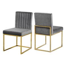 Giselle Velvet Dining Chairs, Set of 2, Gray, Gold Base