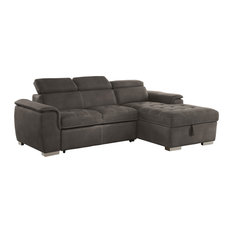 Sunset Trading Metro Pullout Sleeper Sectional With Storage Taupe Gray