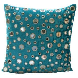 Mirror 35x35 Velvet Turquoise Blue Throw Cushions Cover, Aqua Reflections