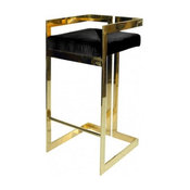 Worlds Away Hearst Barstool, Black Velvet & Brass