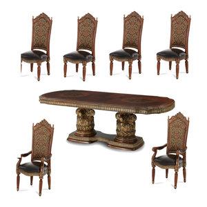 AICO Villa Valencia Rectangular Dining Set, Classic Chestnut