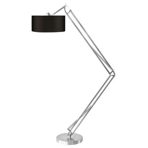 Milano Cotton Floor Lamp With Silver Frame