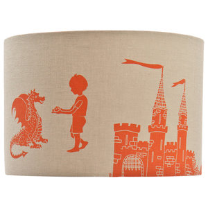 """PaperBoy Interiors """"Ere Be Dragons"""" Lampshade, Taupe and Orange, Floor or Table"""