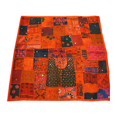 Mogulinterior - Handmade Banjara Vintage Style Tapestry Orange Patchwork Wall Hanging Throw - Tapestries