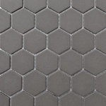 """districtII - 12""""x12"""" Retro Unglazed Hexagon Mosaic, Gray, 12""""x12"""" - Elegant and durable, these tiles make great floors and walls for residential or commercial spaces. They are not the commonly found glazed matte version. These tiles are unglazed, through body and feature a textured surface which makes it great for wet surfaces."""