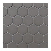 "12""x12"" Retro Unglazed Hexagon Mosaic, Gray, 12""x12"""