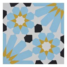 "8""x8"" Agdal Handmade Cement Tile, Yellow/Blue/Black, Set of 12"