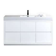"Lux 60"" Single Sink High Gloss White Free Standing Modern Bathroom Vanity"
