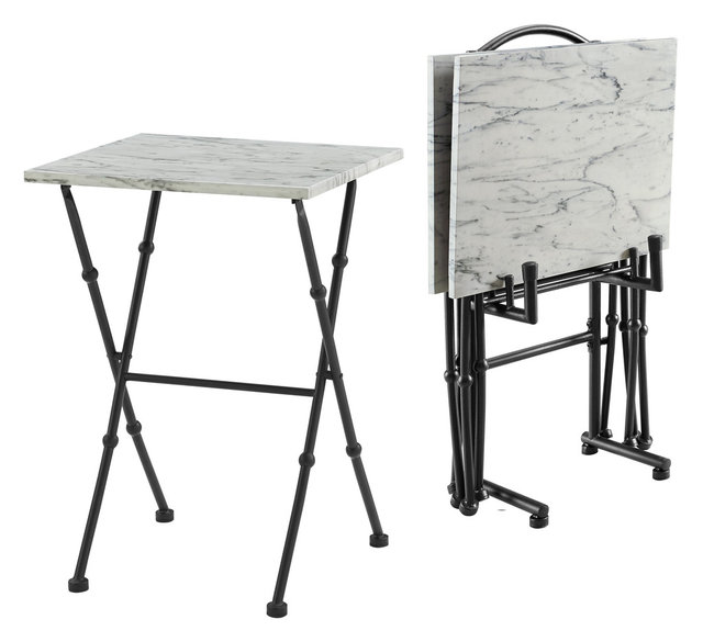 Kildare Four Piece Marble Tray Table Set  sc 1 st  Houzz & Kildare Four Piece Marble Tray Table Set - Transitional - Tv Trays ...