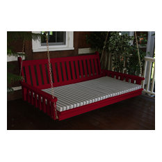 6' Pine Swing Bed in Traditional English Style, Tractor Red