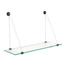 "4 3/4"" x 21"" Crane Floating Clear Glass Shelf"