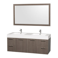 "Amare Gray Oak Double Vanity, Mirror, 60"", Integrated, Acrylic-Resin"
