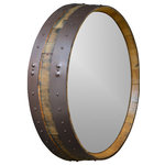 """Alpine Wine Design - Napa Valley Hammered Copper Wine Barrel Mirror - Our Napa Valley wine barrel mirror is created from the top of a wine barrel and features original hand finished metal bands. This is the perfect companion to our popular Hammered Copper Wine Barrel Vanity, a perfect match! Measures approximately 24"""" diameter x 5"""" deep. Attaches to the wall with heavy duty hangers that are provided."""