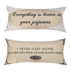 Funny Motivational Pajamas Double Sided Linen Pillow With Removable Crystal Pin