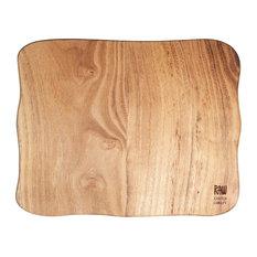 Raw Teak Wood Square Chopping Board, Small