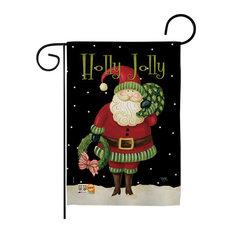 Holly Jolly Santa Winter Decorative Vertical Double Sided Garden Flag