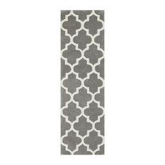 Arabesque Grey Runner Plain Rug, 68x235 cm