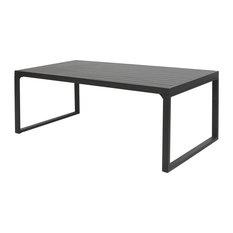 Modern 29-inchx79-inch Rectangular Matte Black Aluminum And Wicker Dining Table