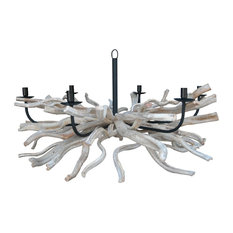 Pi Driftwood and Metal Candle-Style Chandelier