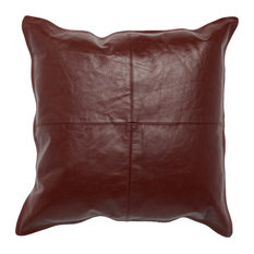"Cheyenne 100% Leather 22""x22"" Throw Pillow by Kosas Home, Burgundy"