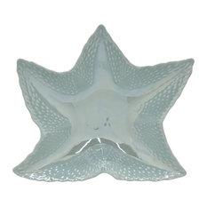 """Ceramic Shell Plate, Blue Porcelain Ceramic 14""""x13""""x4"""""""