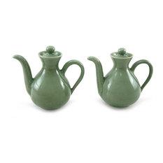 Jade Minimalism Ceramic Oil and Vinegar Set, Set of 2