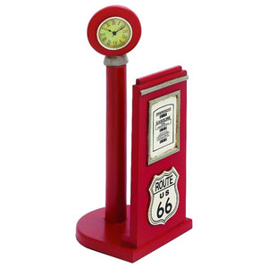 Route 66 Gas Pump Paper Holder Clock Signs Office Accent