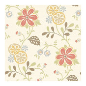 Amelie Red Modern Floral Trail Wallpaper Bolt