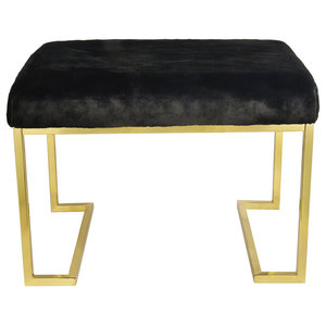 Abbyson Living Brittney Faux Fur Bench Gold