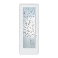 """Interior Door, Wispy Tree, Pinstripe Frosted, Primed, 24x80"""", Right/Pull"""