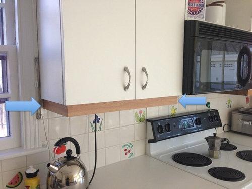 Ideas On Updatingreplacing The Veneer Trim Under Kitchen Cabinets - Replacing veneer on kitchen cabinets