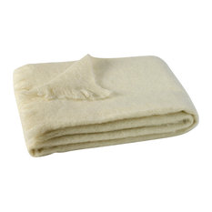 Cream Brushed Mohair Throw