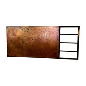 Smooth Copper and Blackened Steel Rail Headboard, King