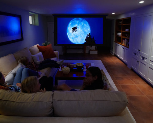 Example Of A Small Arts And Crafts Open Concept Ceramic Floor Home Theater  Design In Minneapolis