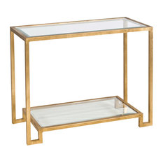 worlds away worlds away gold leafed console table with beveled glass shelves lyle g