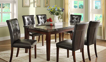Decatur Casual Rich Cherry Dining Table with Marble Top