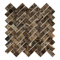 12x12 Polished Emperador Dark Marble Herringbone Mosaic, Set of 10 by Meraki Group