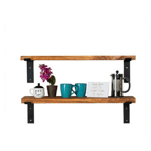 Industrial Shelves With Metal Brackets, Set of 2, Walnut, 24""