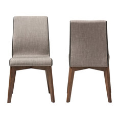 Baxton Studio - Kimberly Beige and Brown Fabric Dining Chair, Set of 2 - Dining Chairs
