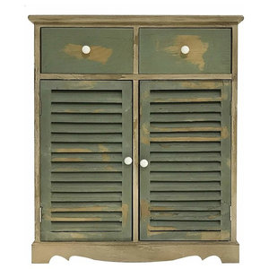Traditional Sideboard, Green Painted Natural Solid Wood With Doors and Drawers
